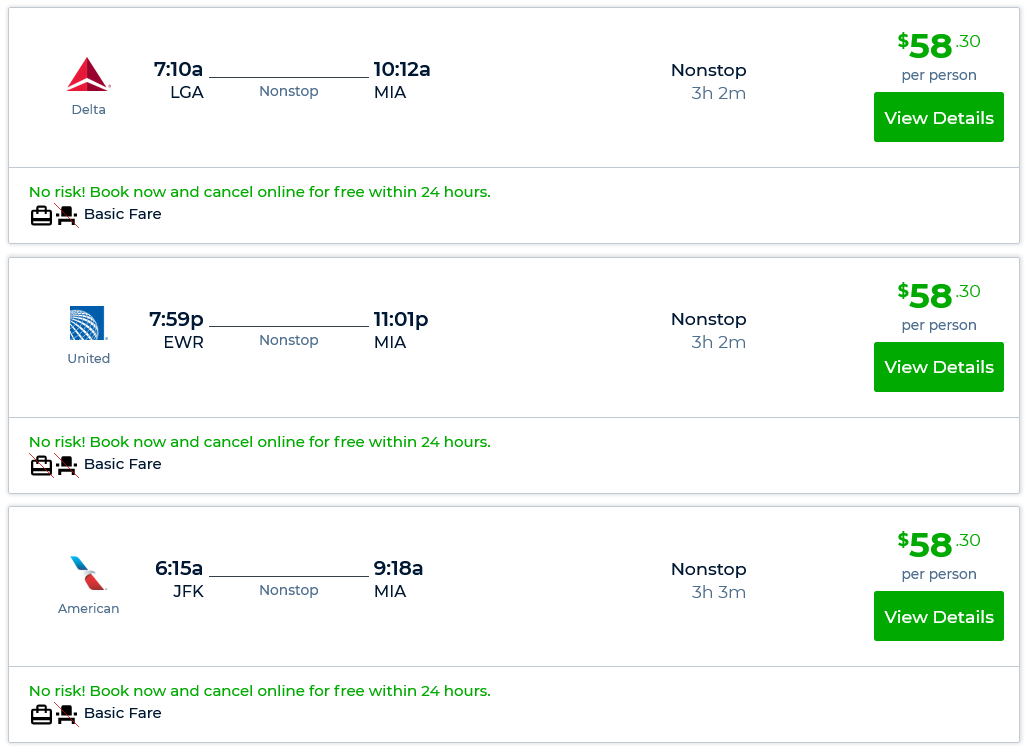 Fly Between NY and Miami For $58-$68 Each Way - Hot Deals