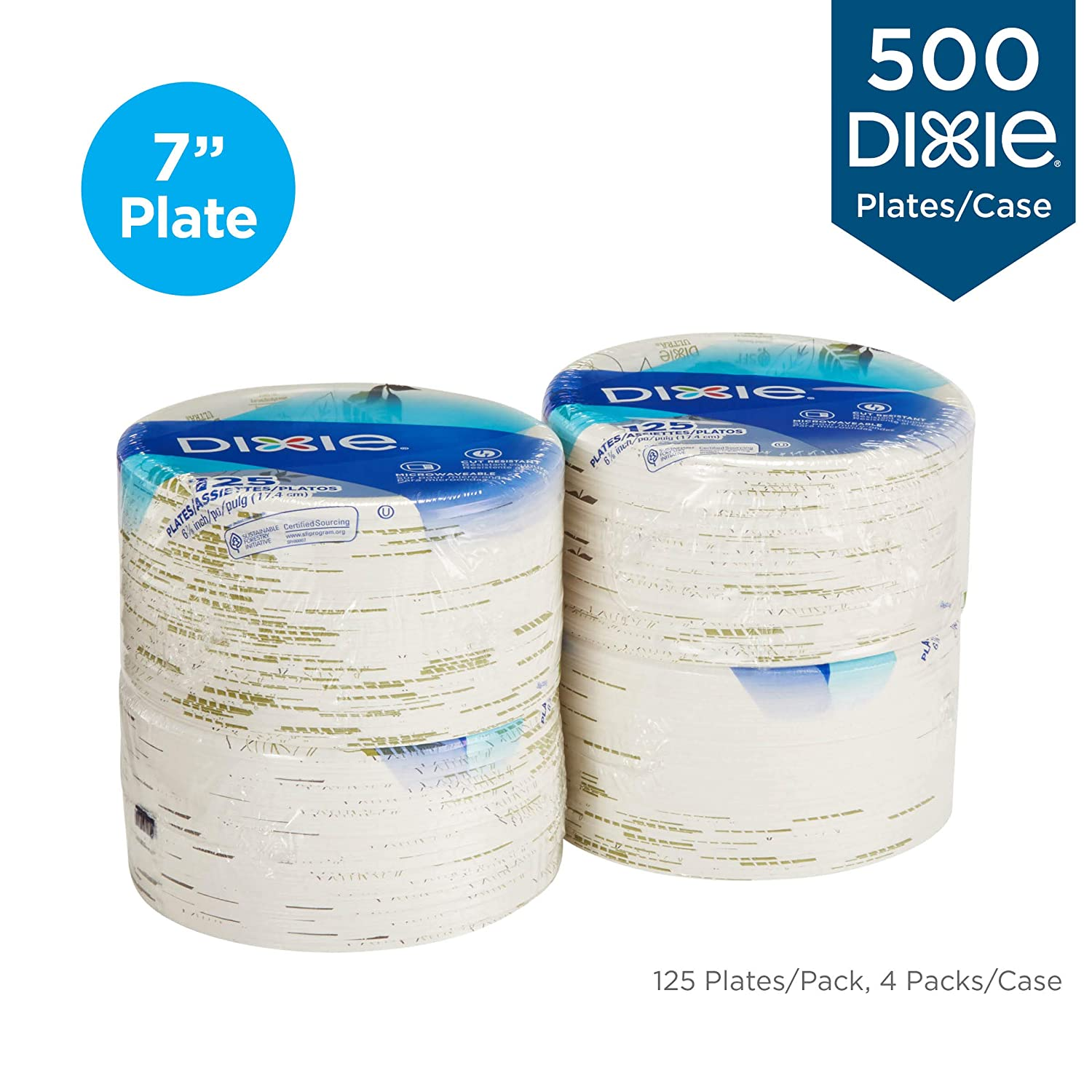 "500 Dixie 6 7/8"" (17.4 Cm) Medium-Weight Paper Plates For"